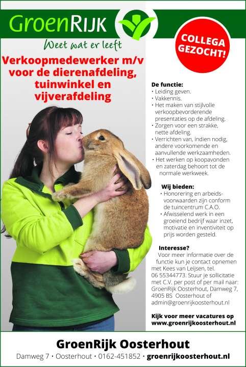 Vacature GroenRijk oosterhout dierenafdeling